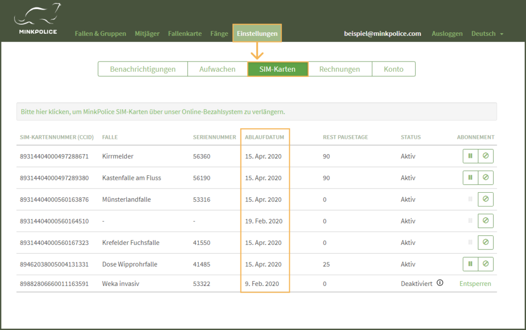 Bildschirmfoto MinkPolice Profil Einstellungen SIM-Kartenübersicht