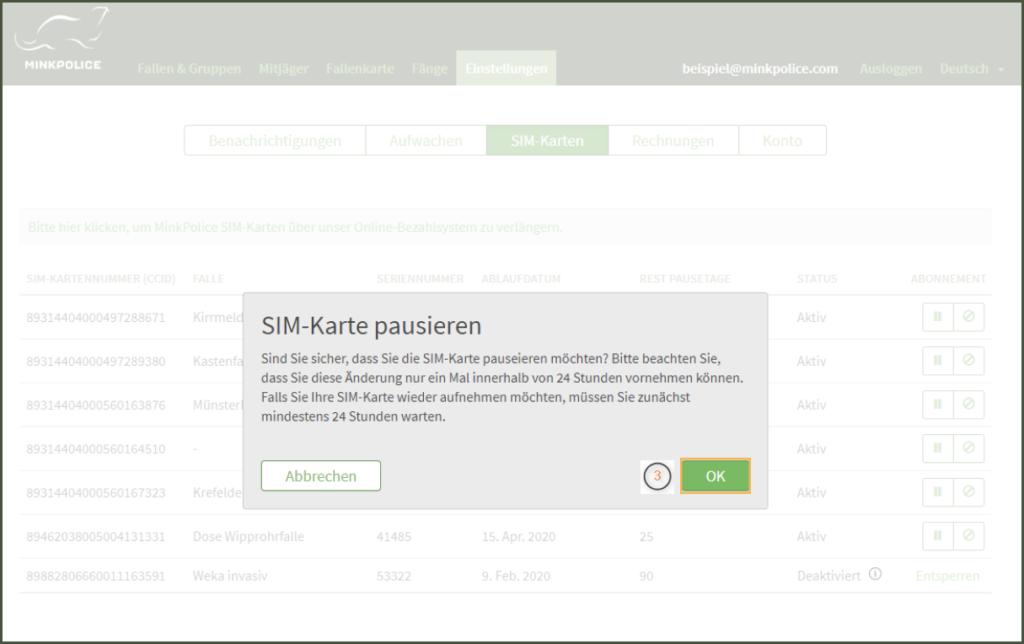 Bildschirmfoto MinkPolice Profil SIM-Karte pausieren Dialogfeld