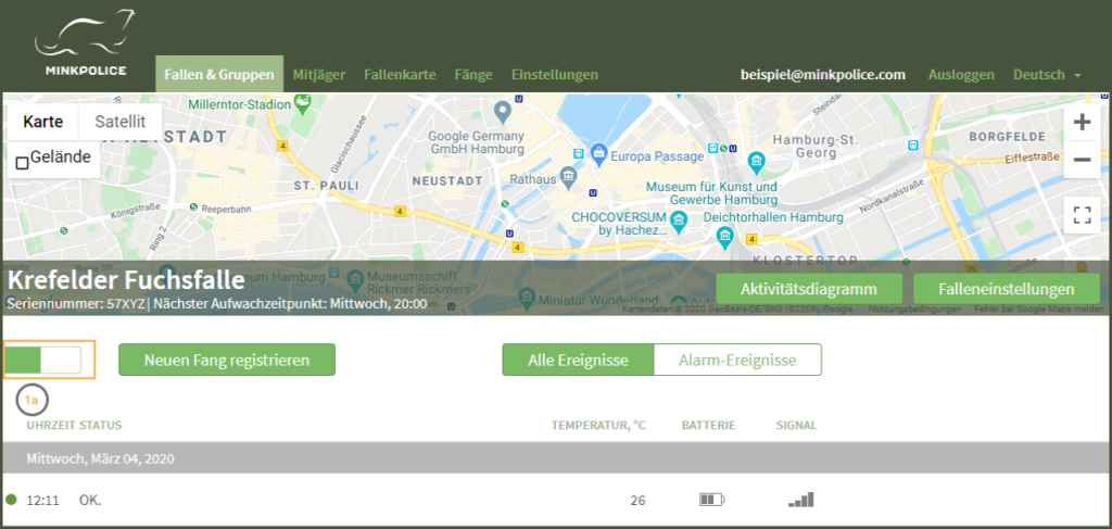 Bildschirmfoto Fallenmelder ausschalten Schritt 1a MinkPolice FAQ