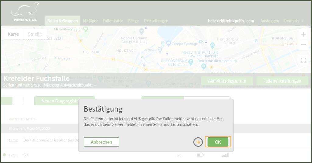 Bildschirmfoto Fallenmelder ausschalten Schritt 1b MinkPolice FAQ