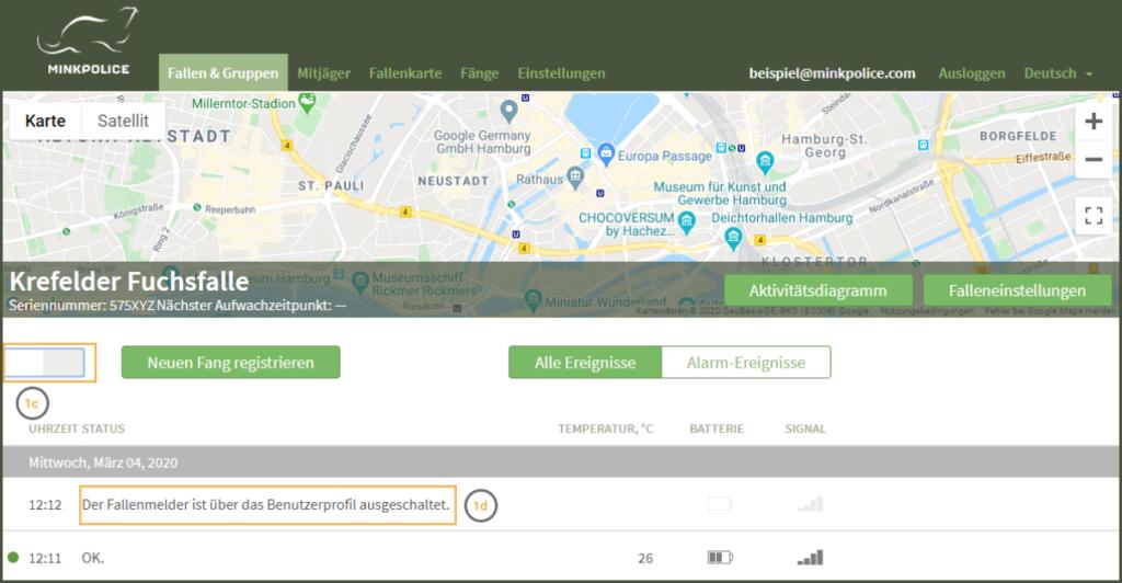 Bildschirmfoto Fallenmelder ausschalten Schritt 1c+d MinkPolice FAQ