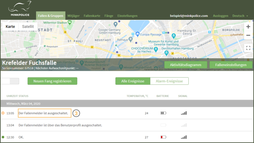 Bildschirmfoto Fallenmelder ausschalten Schritt 3 MinkPolice FAQ