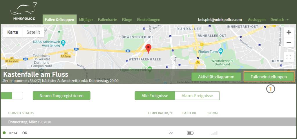 Bildschirmfoto Kastenfalle am Fluss Falleneinstellungen MinkPolice FAQ