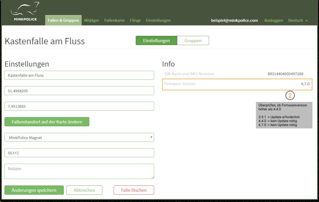 Bildschirmfoto Kastenfalle am Fluss Firmwareversion MinkPolice FAQ