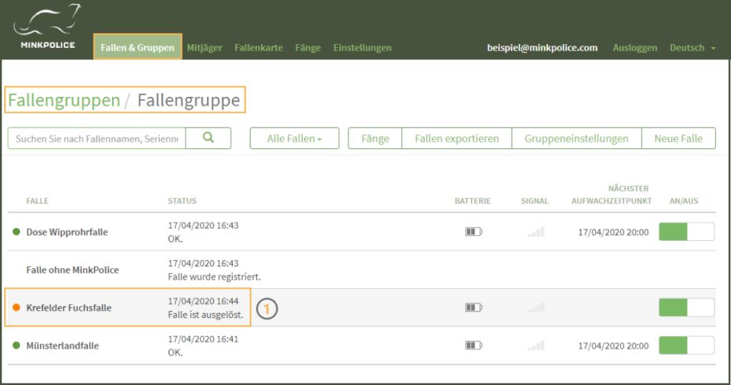 MinkPolice FAQ Fang registrieren Schritt 1