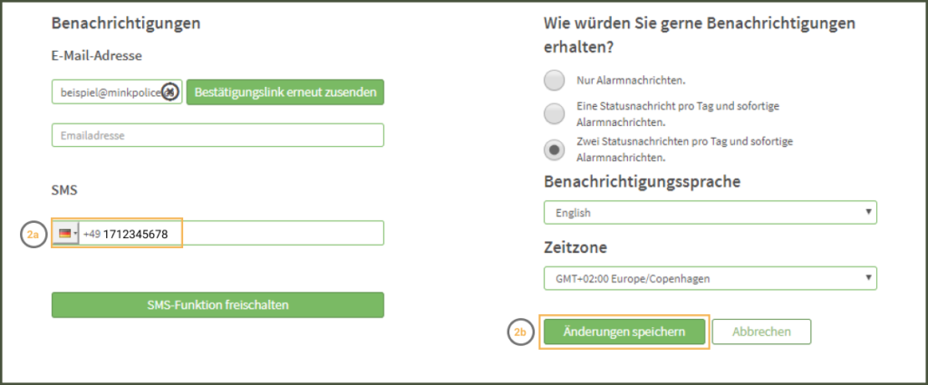 MinkPolice FAQ SMS Funktion freischalten Schritt 2a + 2b