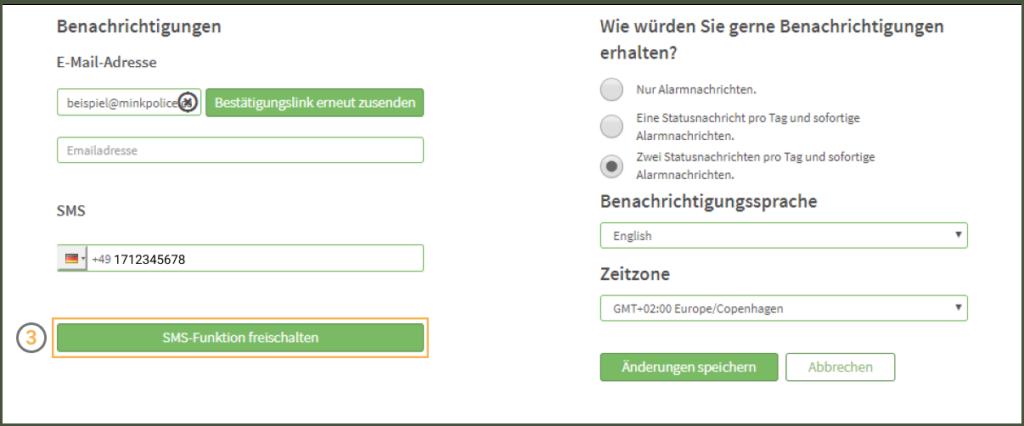 MinkPolice FAQ SMS Funktion freischalten Schritt 3